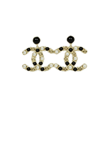 Chanel Faux Pearl, Black Stone & Goldtone CC Earrings w/ Strass Crystals NWT