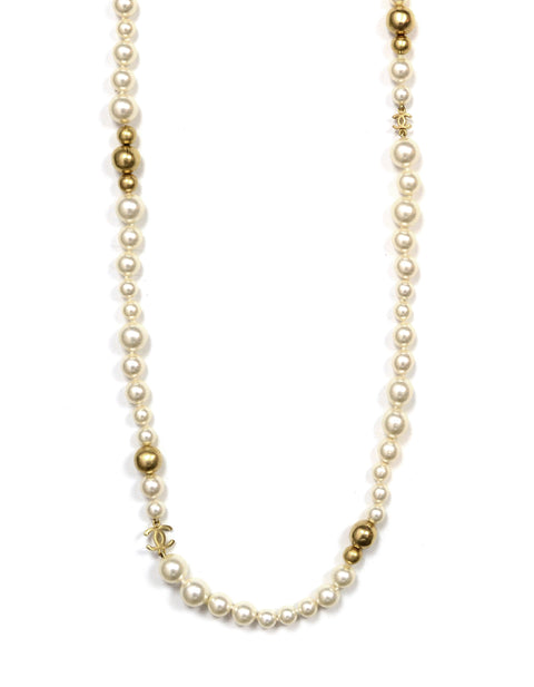 "Chanel 2007 Ivory/Gold Faux Pearl and Gold Bead CC 46"" Necklace"
