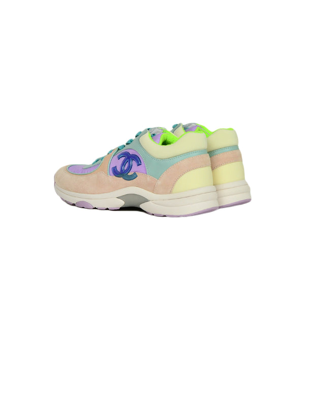 Chanel 2019 Pastel Nylon/Lambskin/Suede Colorblock CC Sneakers sz 38 NWT