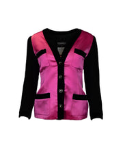 Chanel Pink Silk with Black Velvet Trim Jacket sz 40