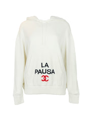 Chanel White 2019 Cruise Cashmere La Pausa Hooded Sweater sz 44