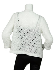 Chanel White Crochet Button down Jacket w/ 4 Pockets & 8 Silvertone Buttons sz Large