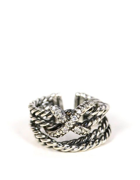 David Yurman Sterling silver & Diamond X Crossover Cable Ring sz 6