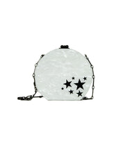 Edie Parker White/Black Marbled Acrylic Clutch/Crossbody Bag