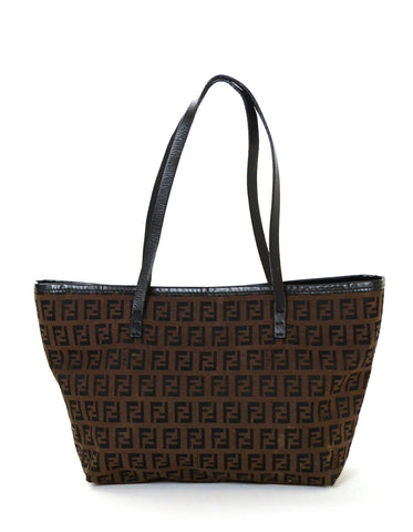 Fendi Brown Vintage Zucchino Monogram Open Tote Bag