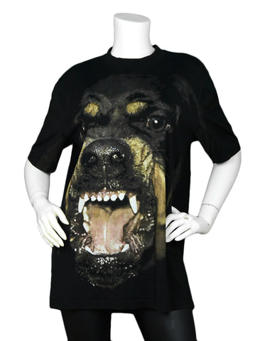 Givenchy NWT Black Cotton Oversized Rottweiler Printed T-Shirt sz Medium