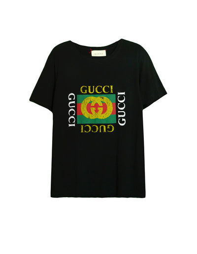 Gucci Black Cotton Logo T-Shirt sz S