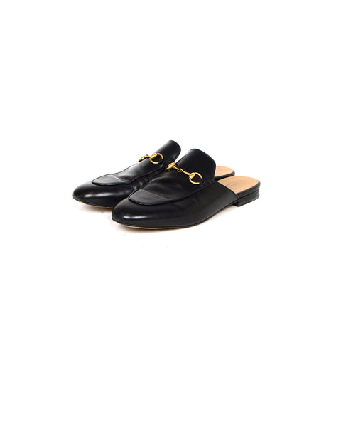 Gucci Black Leather Princetown Mules sz 40.5