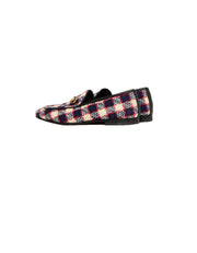 Gucci Plaid New Jordaan Vintage Tweed Check Loafers sz 38