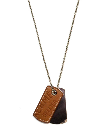Hermes 2010 Leather & Palladium Dog Tag Necklace