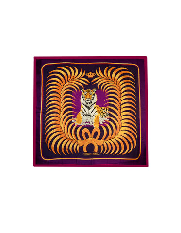 Hermes Purple Pink Royal Tiger Silk & Cashmere 140cm Shawl