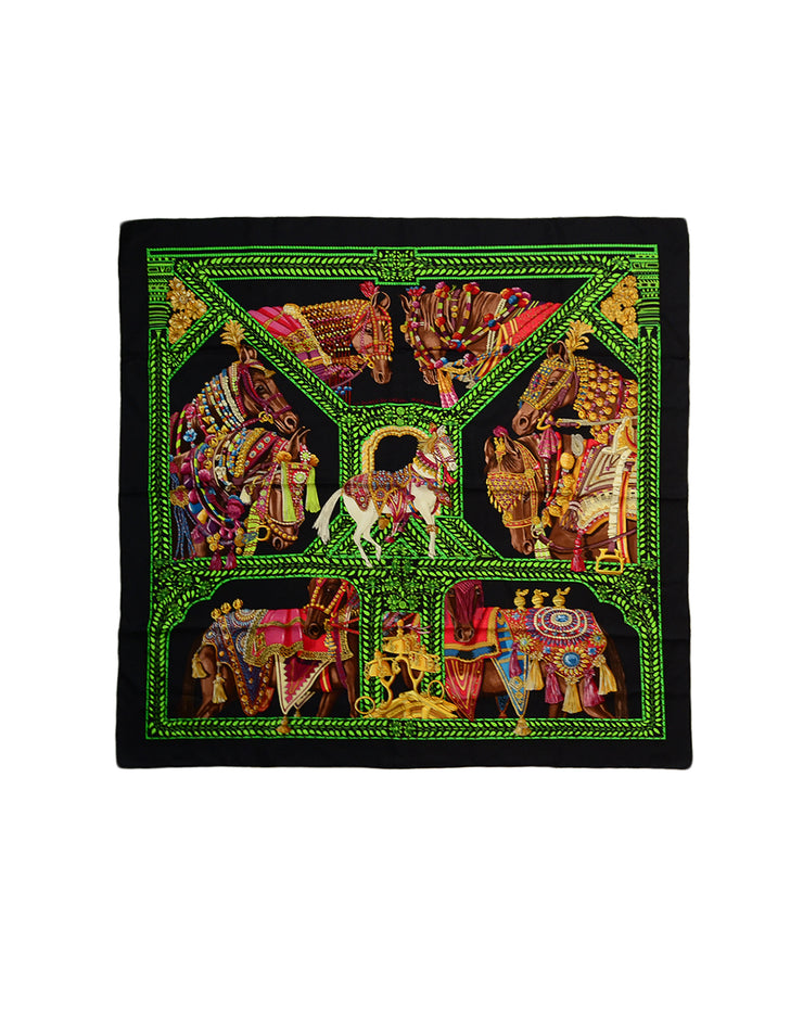 "Hermes Black/Green/Brown ""La Danse du Cheval Marwari"" Horse Print 90cm Silk Scarf"
