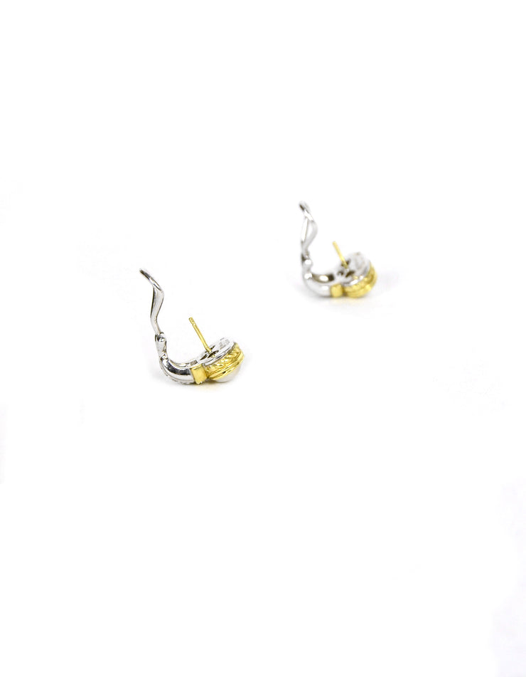 Judith Ripka 18k Gold & Sterling Silver Mabe Pearl Earrings with Diamonds