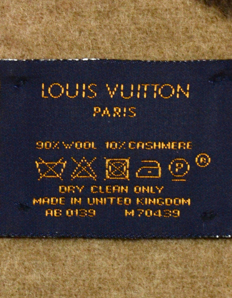 Louis Vuitton Brown Wool & Cashmere Neo Monogram Throw Blanket