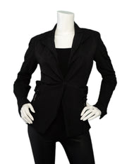 Lanvin Black Cotton Jacket w/ Bow & Side Zipper sz 6