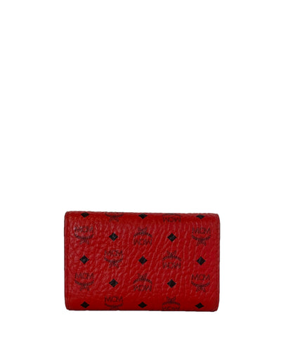 MCM Red Visetos Medium Trifold Wallet