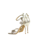 Marchesa Silver Leather Margaret Laser Cut Sandals sz 38.5