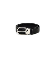 Mont Blanc Black Leather Belt w/ Silver Hardware sz 38