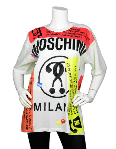 Moschino White/Multicolor Capsule Print Oversized T-Shirt sz XS