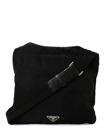 Prada Black Nylon Flat Messenger Bag