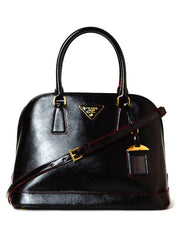 Prada Black/Red Saffiano Vernice Leather Promendade Bag 1BA567