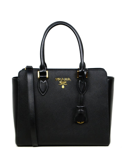 Prada Black Saffiano Small Top Handle Crossbody Bag 1BA113