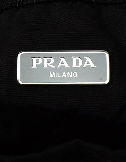 Prada 2019 Black Nylon Flame Print Wristlet Bucket Pouch Bag