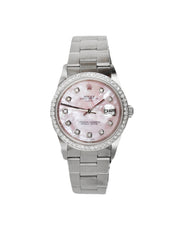 Rolex Stainless Steel/Pink 34mm Automatic Oyster Perpetual Date 15200 Watch w. Diamonds