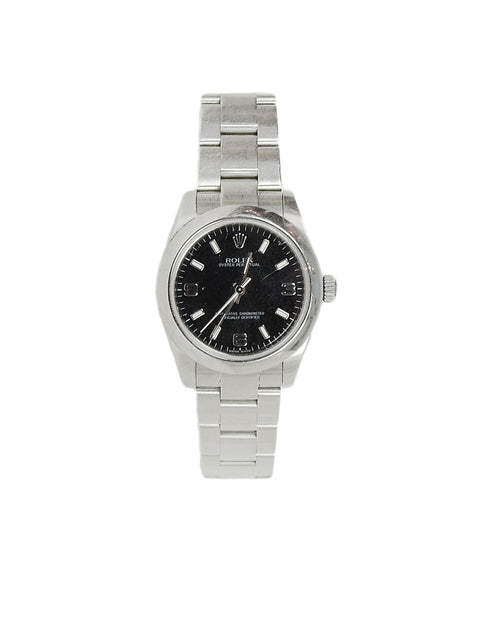 Rolex Stainless Steel 26mm Oyster Perpetual Watch w. Black Dial