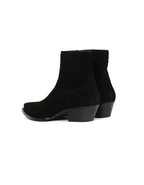Saint Laurent Black Wool Lukas 40 Ankle Zip Boot sz 40