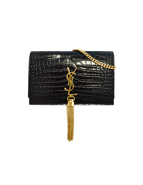 Saint Laurent New Black Croc Embossed Kate Tassel Wallet on a Chain Crossbody Bag