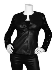 Akris Black Leather Front Button Jacket w/ Wool Cutout-Back & Sleeves sz 6
