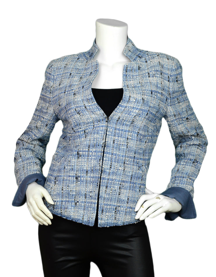 Akris Blue/Black Tweed Jacket sz 10