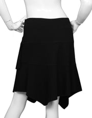 Alaia Black Wool Asymmetrical Skirt Sz Large