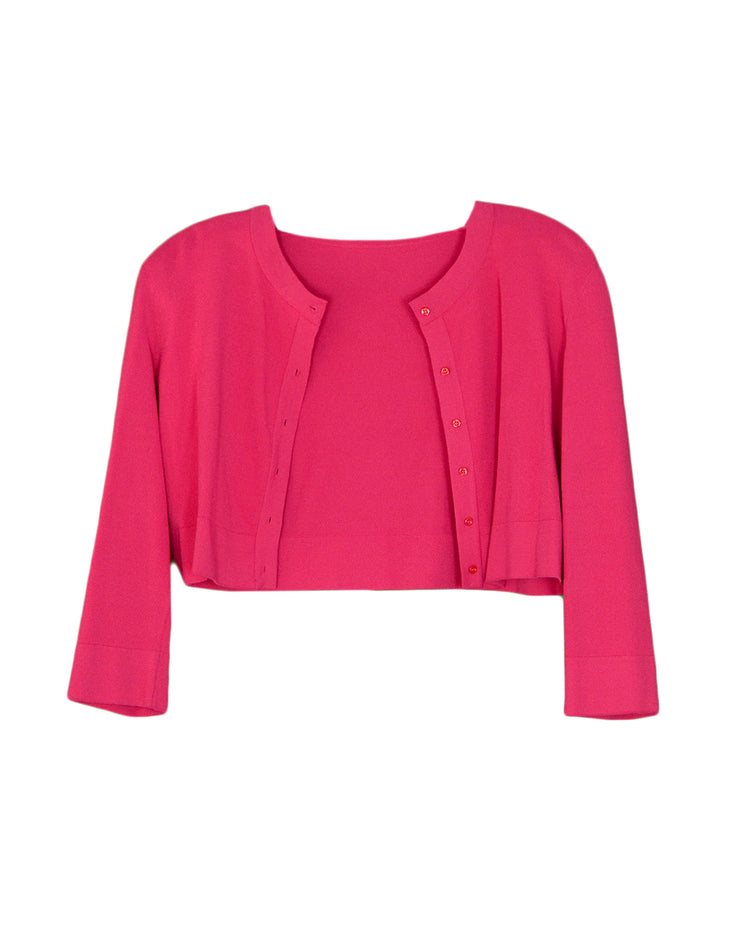 Alaia Pink Button Up Cropped Sweater sz 44