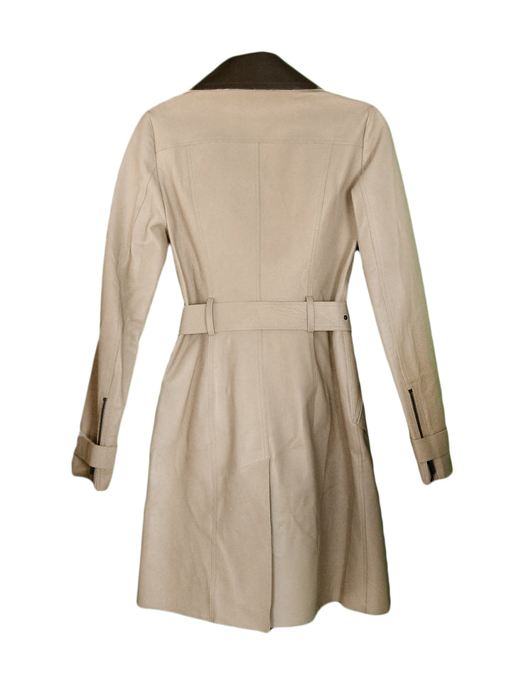 Burberry Tan/Brown Leather Trench Coat with Belt sz 4