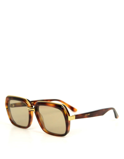 Celine Phoebe Philo Havana Acetate Square Sunglasses CL40050U
