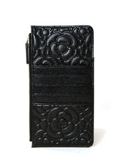 Chanel Black Caviar Camellia Embossed Classic Flat Wallet iPhone Pouch