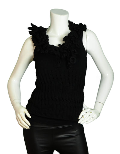 Chanel Black Knit Sleeveless Top w/Chunky Crochet Trim FR38