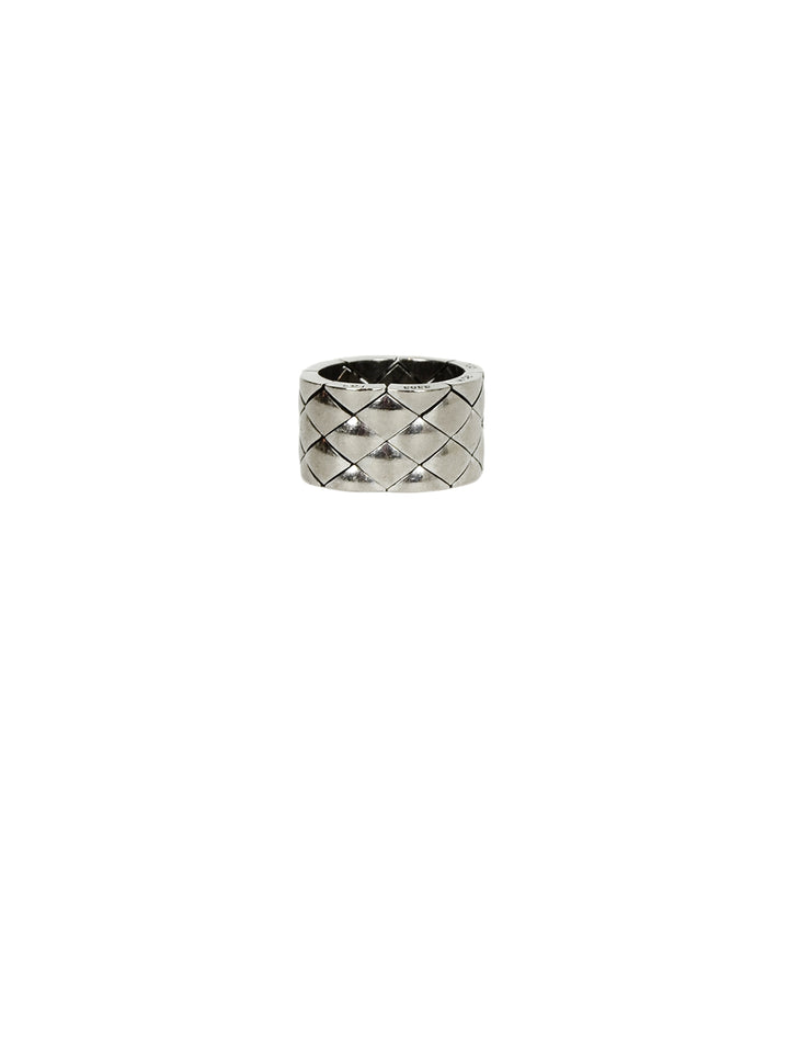 Chanel 18k White Gold Coco Crush Matelasse Thick Band Ring 52/6