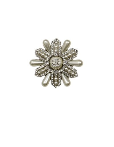 Chanel 2019 Strass Crystal and Faux Pearl CC Brooch