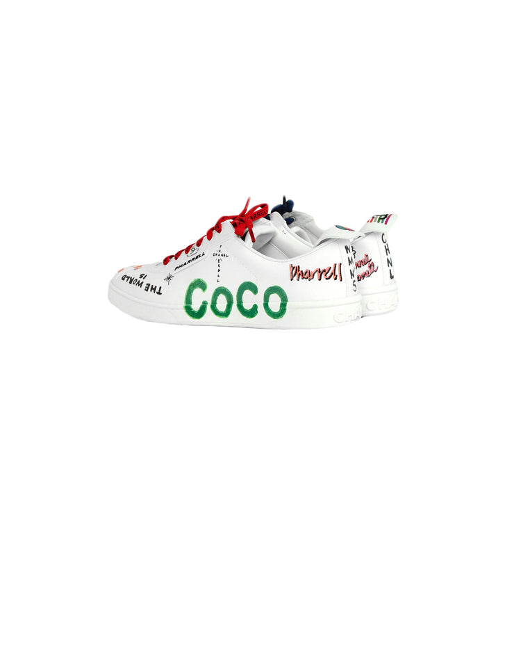 Chanel 2019 White Canvas & Calfskin Leather Pharrell Williams Graffiti Sneakers sz 39