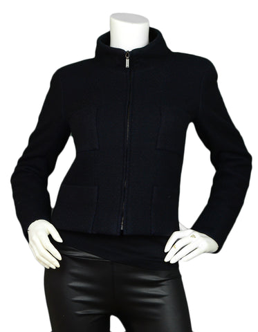 Chanel Black Cashmere Four-Pocket Zip-Up Jacket sz 36