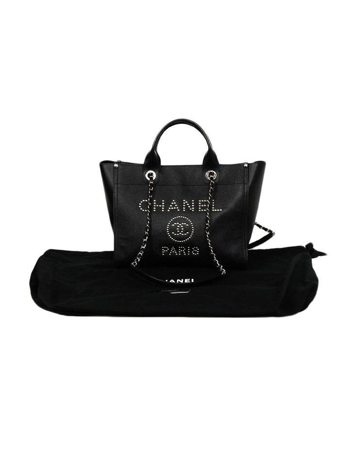 Chanel 2018 Black/Silver Caviar Leather Studded Small Deauville Tote Bag