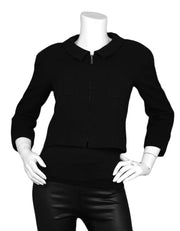 Chanel Vintage Black Wool Cropped Jacket w/ Zipper sz 34