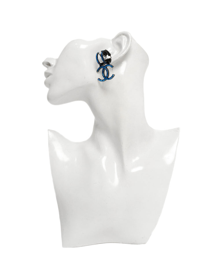 Chanel Blue Strass Crystal Single Clip On Earring