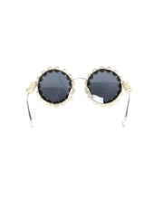 Chanel '90s Runway Round Pearl Framed Sunglasses