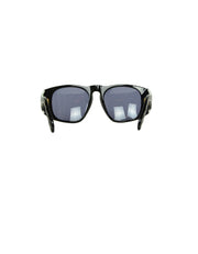 Chanel '90s Vintage Black Acetate Sunglasses w/ CC and Quilted Arms