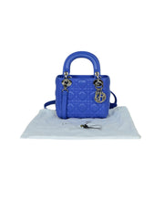 Christian Dior Blue Lambskin Leather Cannage Quilted Mini Lady Dior Crossbody Bag