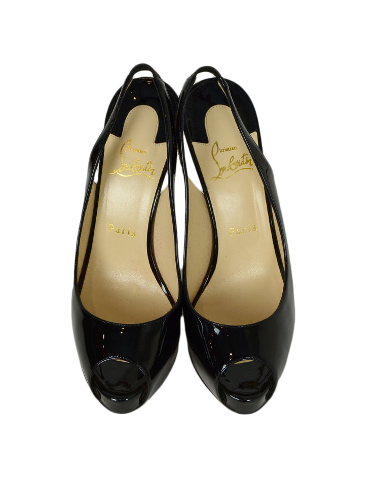 "Christian Louboutin Black Patent Leather ""Private Number 120mm"" Peep Toe Slingback Pumps sz 38"